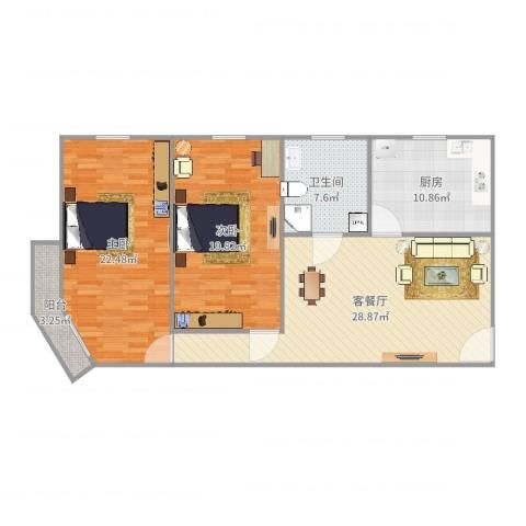 明佳公寓2室2厅1卫1厨116.00㎡户型图
