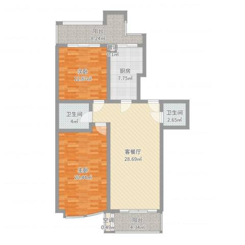 名人雅居沪贵苑2室2厅2卫1厨89.57㎡户型图