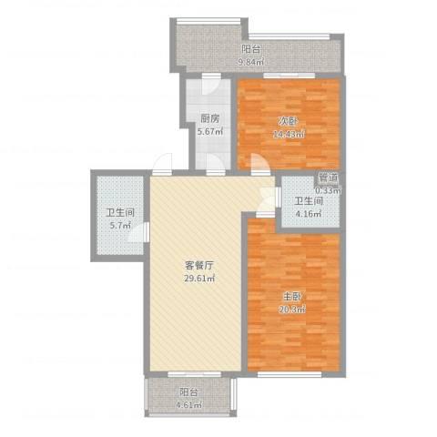 名人雅居沪贵苑2室2厅2卫1厨94.66㎡户型图