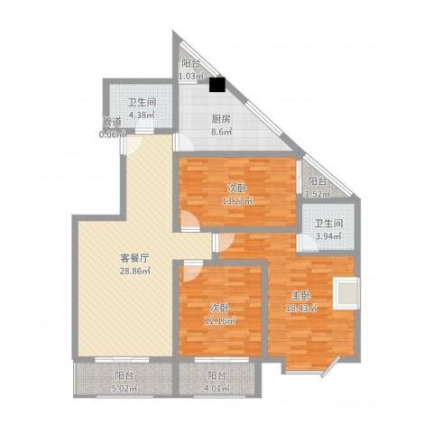 名人雅居沪贵苑3室2厅2卫1厨127.00㎡户型图