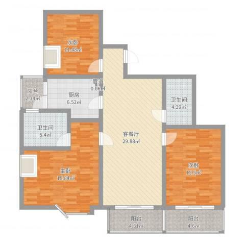 名人雅居沪贵苑3室2厅2卫1厨129.00㎡户型图