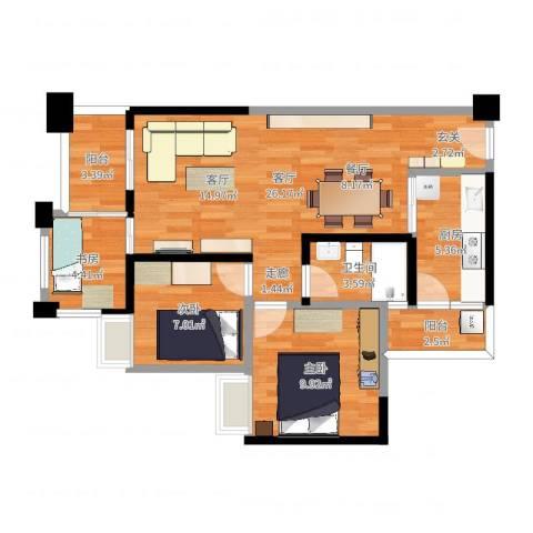 萝岗奥园广场3室1厅1卫1厨78.00㎡户型图
