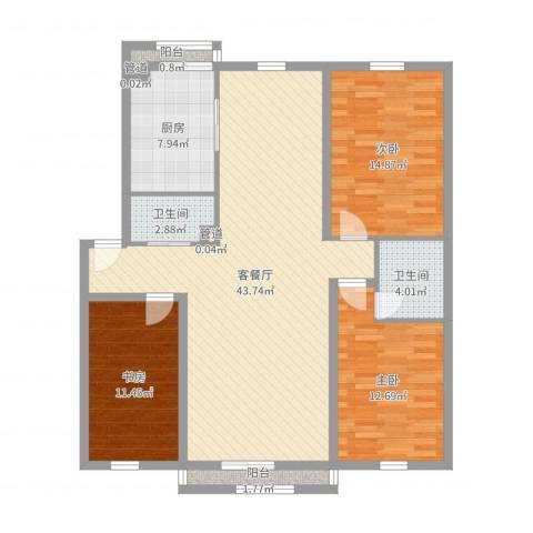 万嘉花园3室2厅2卫1厨125.00㎡户型图