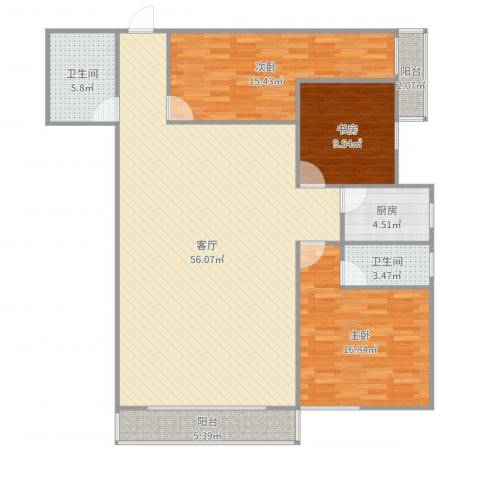 欧陆经典18号楼5013室1厅2卫1厨149.00㎡户型图