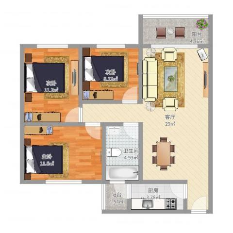 集贤苑3室1厅1卫1厨94.00㎡户型图