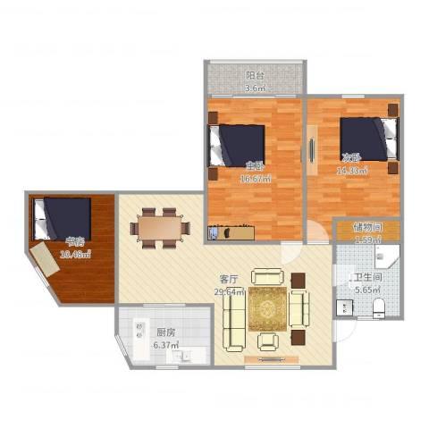 龙州小区3室1厅1卫1厨88.32㎡户型图