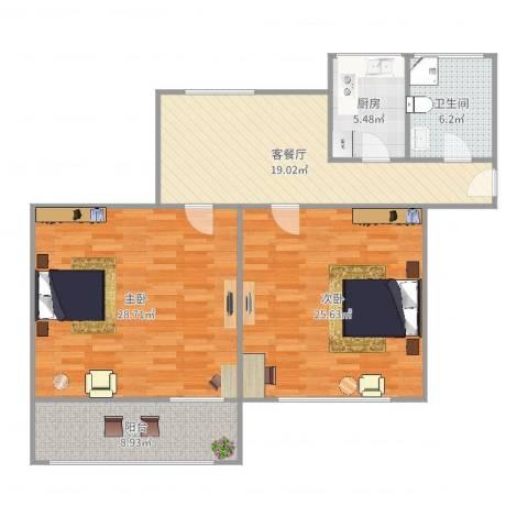龙南四村2室2厅1卫1厨117.00㎡户型图