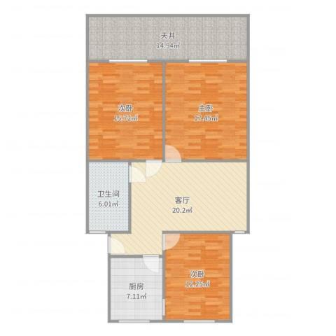 龙南六村3室1厅1卫1厨117.00㎡户型图