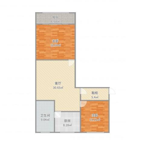 龙南七村2室1厅1卫1厨120.00㎡户型图