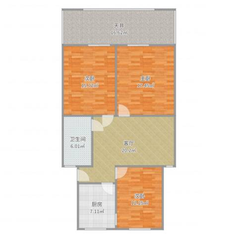 龙南六村3室1厅1卫1厨119.00㎡户型图