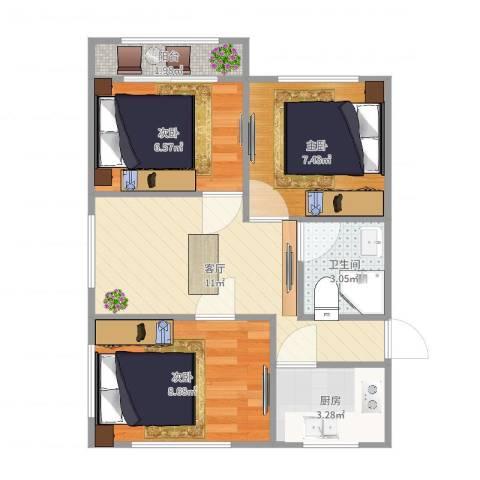 龙南六村3室1厅1卫1厨52.00㎡户型图