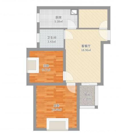 佳龙大沃城2室2厅1卫1厨64.00㎡户型图