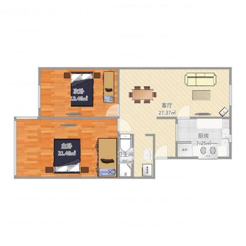 龙华机场新村2室1厅1卫1厨89.00㎡户型图