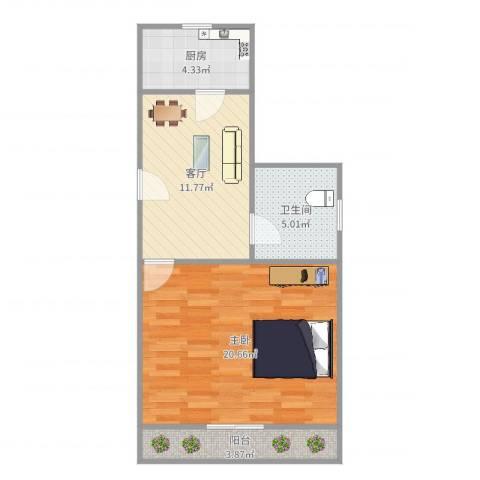 龙华西路81弄小区1室1厅1卫1厨57.00㎡户型图