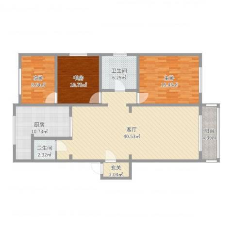 祥云小区3室1厅2卫1厨126.00㎡户型图