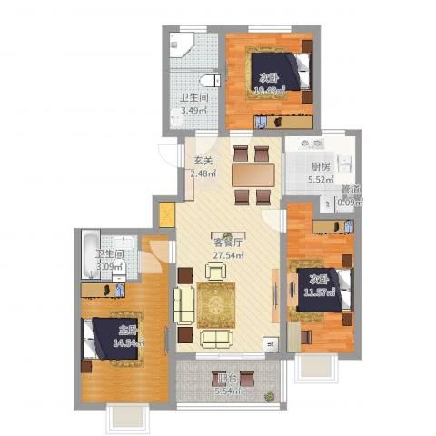汶上如意花园3室2厅2卫1厨105.00㎡户型图
