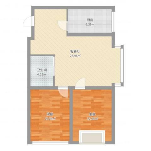 群星国际新城2室2厅1卫1厨77.00㎡户型图