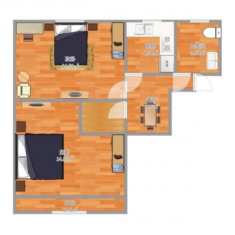 海滨八村2室1厅1卫1厨58.00㎡户型图