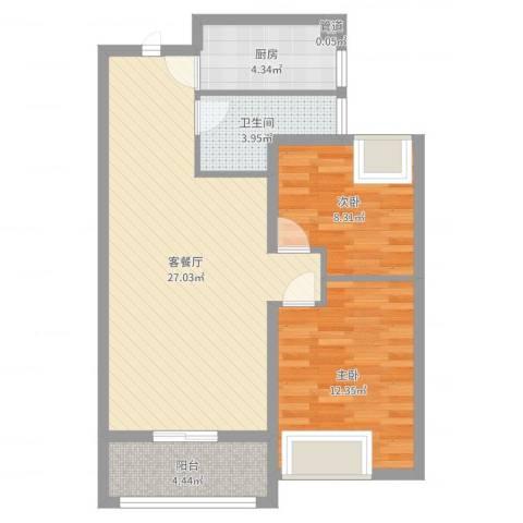 金都花园三期香榭丽都2室2厅1卫1厨76.00㎡户型图