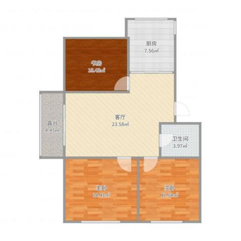 长春明珠3室1厅1卫1厨96.00㎡户型图