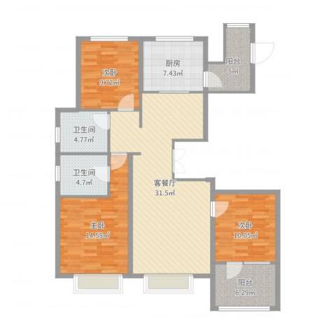 博辉万象城3室2厅2卫1厨118.00㎡户型图
