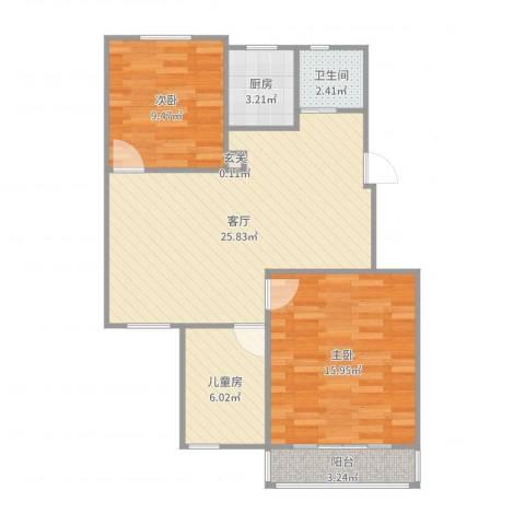官庄前花园3室1厅1卫1厨83.00㎡户型图