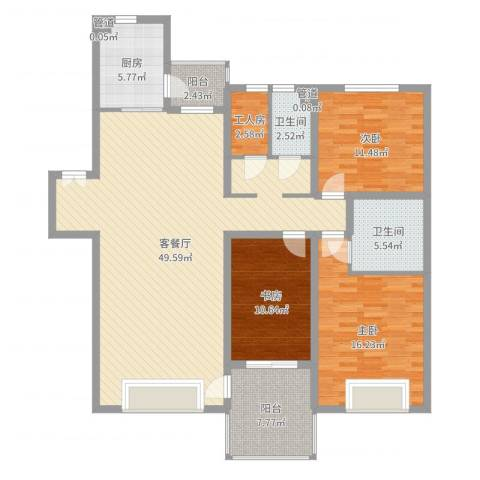 中海水岸春城3室2厅2卫1厨143.00㎡户型图