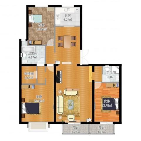 建投十号院3室1厅4卫1厨148.00㎡户型图