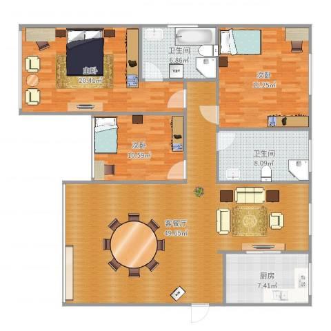 沪佳第一届设计大赛沪佳闸北店C户型3室2厅2卫1厨149.00㎡户型图