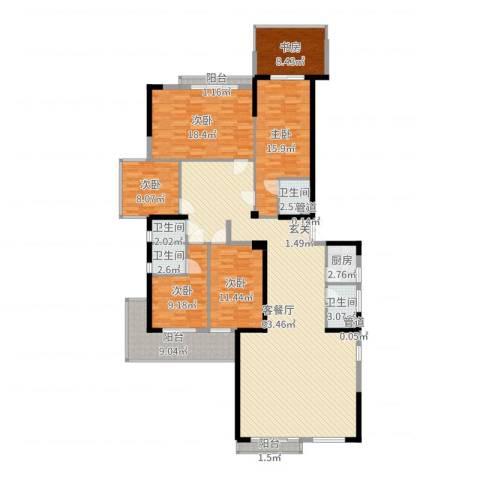源泉山庄6室2厅4卫1厨200.00㎡户型图