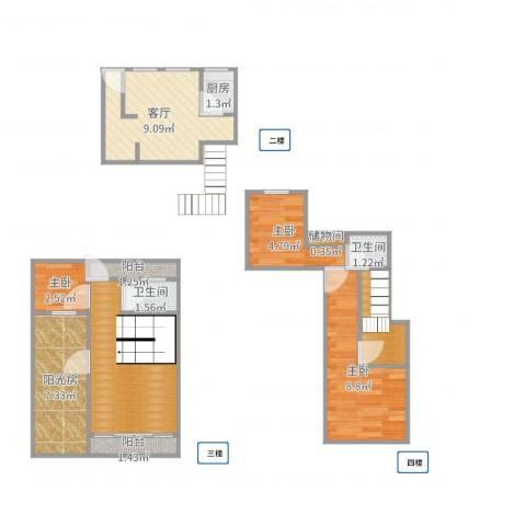 漓江山水花园3室1厅2卫1厨68.00㎡户型图
