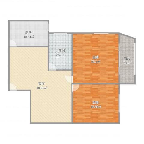 乐山大楼2室1厅1卫1厨137.00㎡户型图