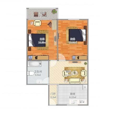 科苑新村2室1厅1卫1厨84.00㎡户型图