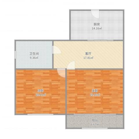 科苑新村2室1厅1卫1厨114.00㎡户型图