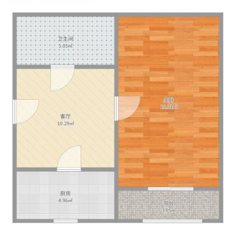科苑新村1室1厅1卫1厨52.00㎡户型图