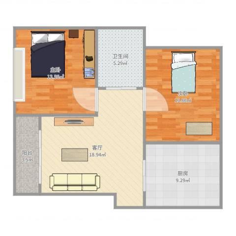 康馨家园2室1厅1卫1厨81.00㎡户型图