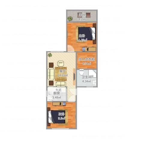 康强坊南北2房2室1厅1卫1厨65.00㎡户型图