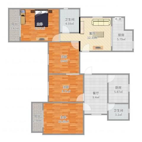 康乐小区(徐汇)4室2厅2卫2厨116.00㎡户型图