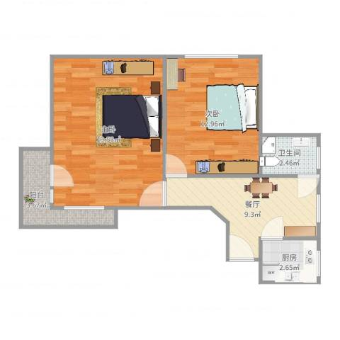 康乐小区(徐汇)2室1厅1卫1厨63.00㎡户型图