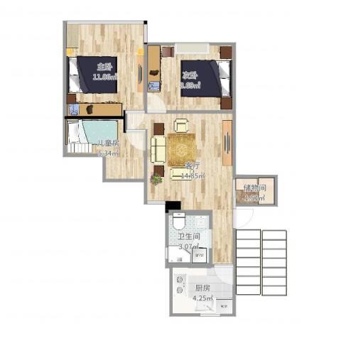 康乐小区(徐汇)3室1厅1卫1厨61.00㎡户型图