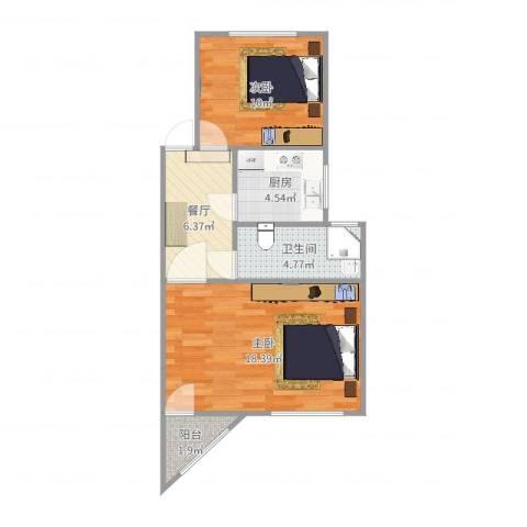康乐小区(徐汇)2室1厅1卫1厨57.00㎡户型图