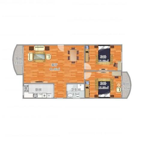 龙福花园2室1厅1卫1厨112.00㎡户型图