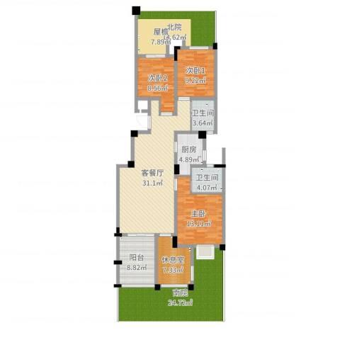 中铁滨江名邸1室2厅2卫1厨113.00㎡户型图