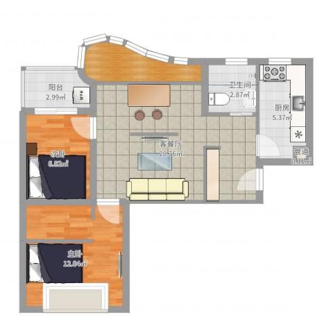 万邦都市花园2室2厅1卫1厨69.00㎡户型图