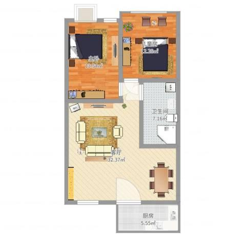 峰华都市花园2室1厅1卫1厨89.00㎡户型图