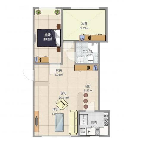 昌鸿小区2室1厅1卫1厨73.00㎡户型图