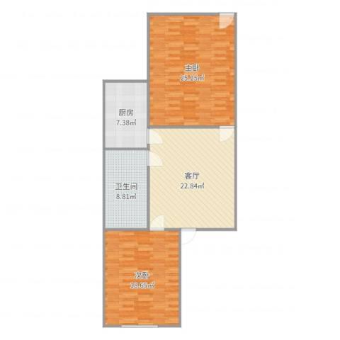 康健路77弄2室1厅1卫1厨104.00㎡户型图