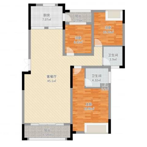 东方昌盛・东方新城3室2厅2卫1厨133.00㎡户型图