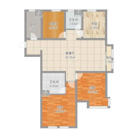 万科仕林苑3室2厅2卫1厨126.00㎡户型图