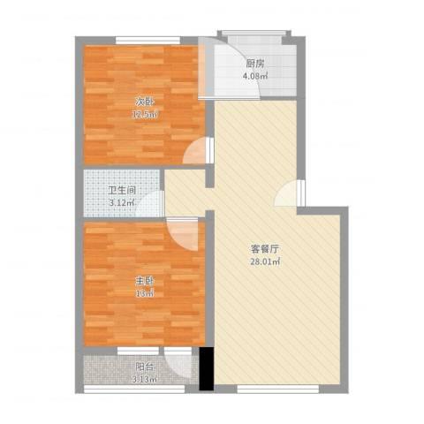 正安花园2室2厅1卫1厨80.00㎡户型图